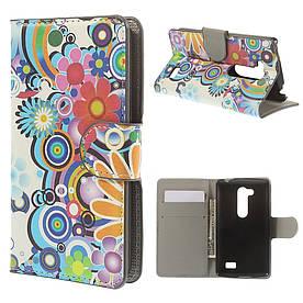 """Чехол книжка для LG L Fino Dual D295 """"Радужный букет"""" боковой с отсеком для визиток"""