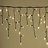 Гирлянда УЛИЧНАЯ  Бахрома(сосульки) 100 LED 8mm 3 метра,70/60/50 см,на черном проводе тепло-белая