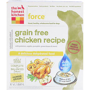 The Honest Kitchen, Сила, беззерновый обезвоженный корм для собак, рецепт из курицы, 0,9 кг