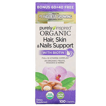 Purely Inspired, Organic Hair, Skin & Nails Support with Biotin, 100 Caplets