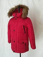 Зимняя куртка парка для мальчиков подростков  34-38 красный