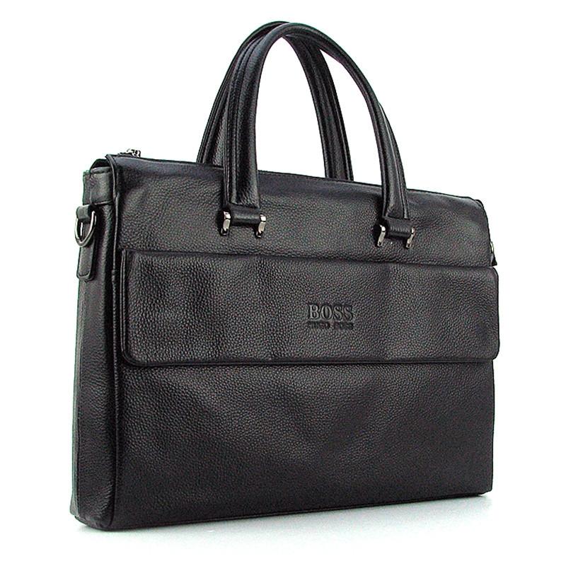 5d0a7477f60f Мужская кожаная сумка портфель Hugo Boss черная для документов или ноутбука