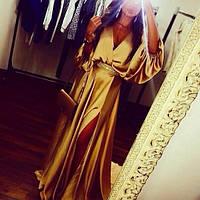 Платье вечернее длинное, материал атлас, на поясе камни цвет только такой ЛЯ № Топаз
