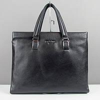 Мужская сумка портфель Prada pd-8840-3 кожаная черная для документов или ноутбука, фото 1