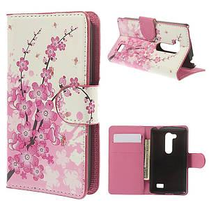 """Чехол книжка для LG L Fino Dual D295 """"Цветущая сакура"""" боковой с отсеком для визиток"""