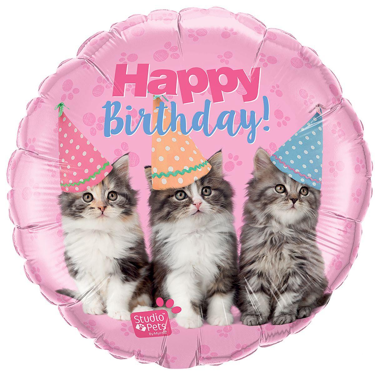 "Фол шар Qualatex 18"" Круг Розовый Котята в колпачках Happy Birthday (Квалатекс)"