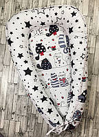 """Гнездышко-кокон для новорожденного """"Чёрно-белый с котами"""""""