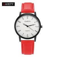Женские наручные кварцевые часы c красным ремешком 87610