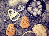 Вырубка для печенья 3Д новогодняя Снеговик