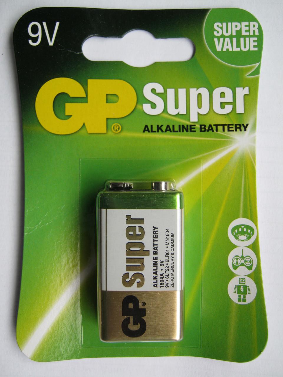 Батарейки GP Super Alkaline 9V крона