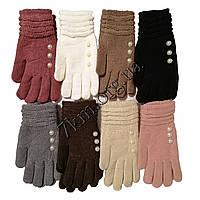 """Перчатки женские одинарные с начесом """"Бусинки"""" Оптом 7162"""