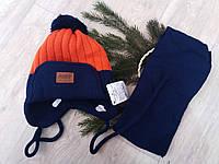 Детская зимняя шапка и шарф на мальчика,флис.Польша, фото 1