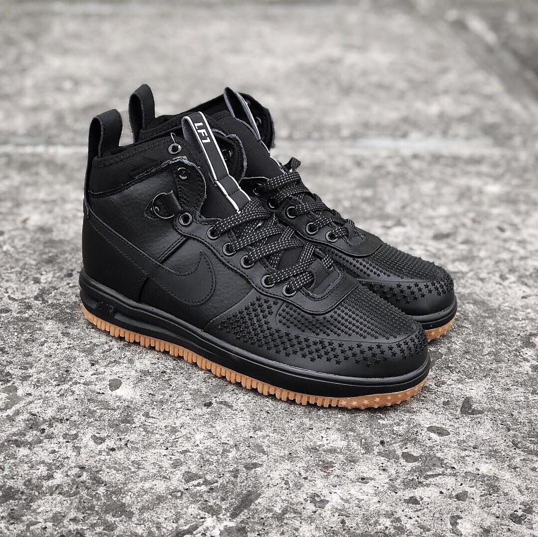 1b2f4a2f Nike Lunar Force 1 Duckboot Black Gum | кроссовки мужские; высокие; черные;  кожаные