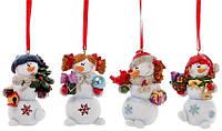 """Елочная игрушка 559-299 подвеска """"Снеговик с подарками"""" 7см, полистоун 4вида уп4"""