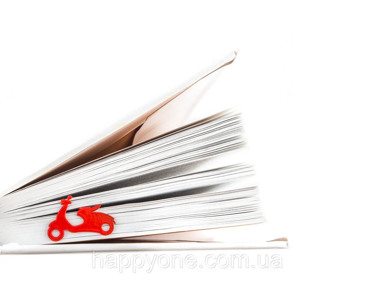 Закладка для книг Мопед (красная)