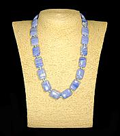 Бусы  из  голубого агата, прямоугольник , фото 1