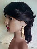 """Подовжені сережки """"під золото"""", висота 10 см., фото 4"""