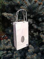 Пакет паперовий 130х75х250 з плоским дном, видовим віконцем та ручками (білий крафт)