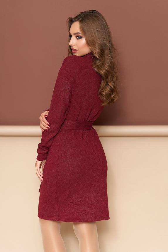 Теплое платье трикотажное из шерсти приталенное бордо, фото 2