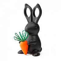 Ножницы и магнит со скрепками Desk Bunny Qualy (черный)