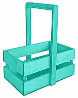 Ящик для цветов деревянный  бирюзовый