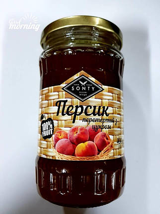 "Персик перетёртый с сахаром в стекле ТМ ""SONTY"" 400 гр, фото 2"