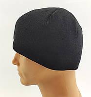 Мужские вязаные шапки утепленные флисом 56 по 60 размер теплые мужская шапка, фото 1