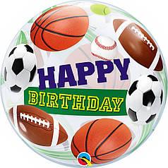"""Шар Bubble Бабл 22""""/56 см Happy birthday Спортивные мячи (Qualatex)"""
