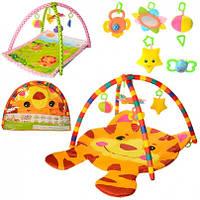 Коврик для младенца дуга 2шт,подвески 5шт ,2 вид(100-74см,84-64см),в сумке,79-57-7см