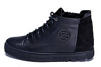 Мужские зимние кожаные ботинки ZG GO GO Man Black, фото 1