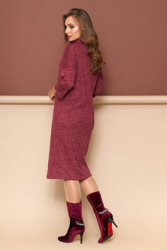 Теплое платье из трикотажа прямого кроя бордо, фото 2