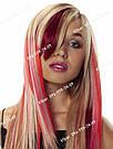 Бордові пасма волосся на шпильки кольорові, фото 2