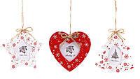Елочная игрушка 785-200 подвеска-фоторамка Сердце Елка Звезда 12х12см дерево 3вида уп12