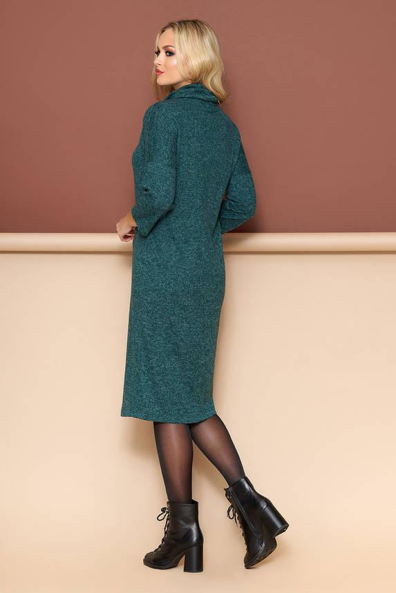 Теплое платье из трикотажа прямого кроя изумрудное, фото 2