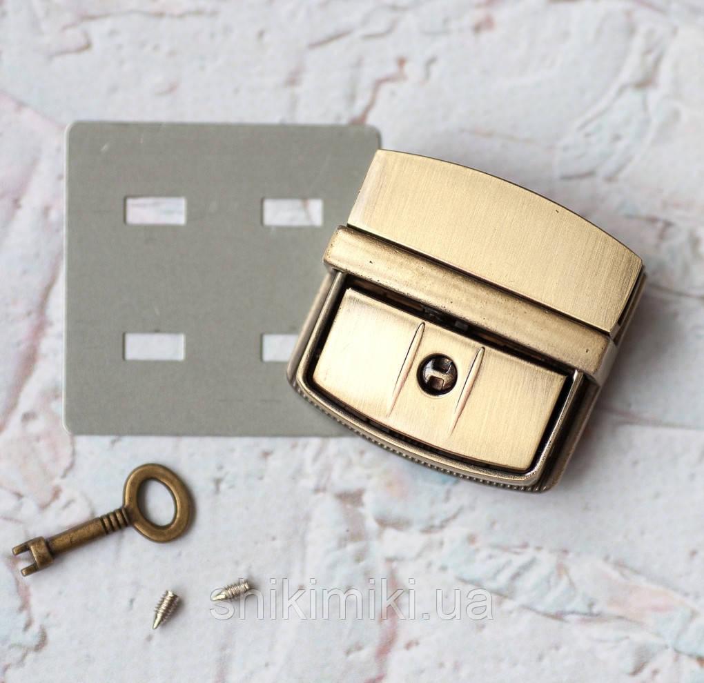 Замок для сумки с ключом ZM04-4, цвет антик