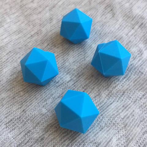 Икосаэдр 23мм (голубой) силиконовая бусина