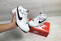 b23dda24 Кроссовки женские найк эйр форс зимние бело-черные с мехом (реплика) Nike  Air