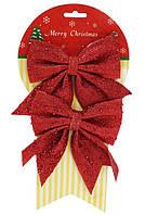 Набор декоративных бантов 787-305 Красный 12х13см, ткань 2шт уп12