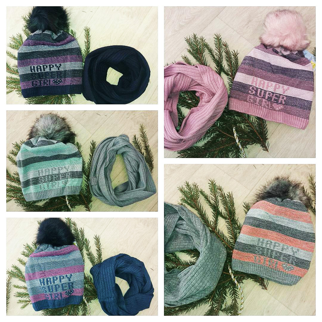 Подростковый комплект шапка и снуд (холодная осень)для девочки.Польша