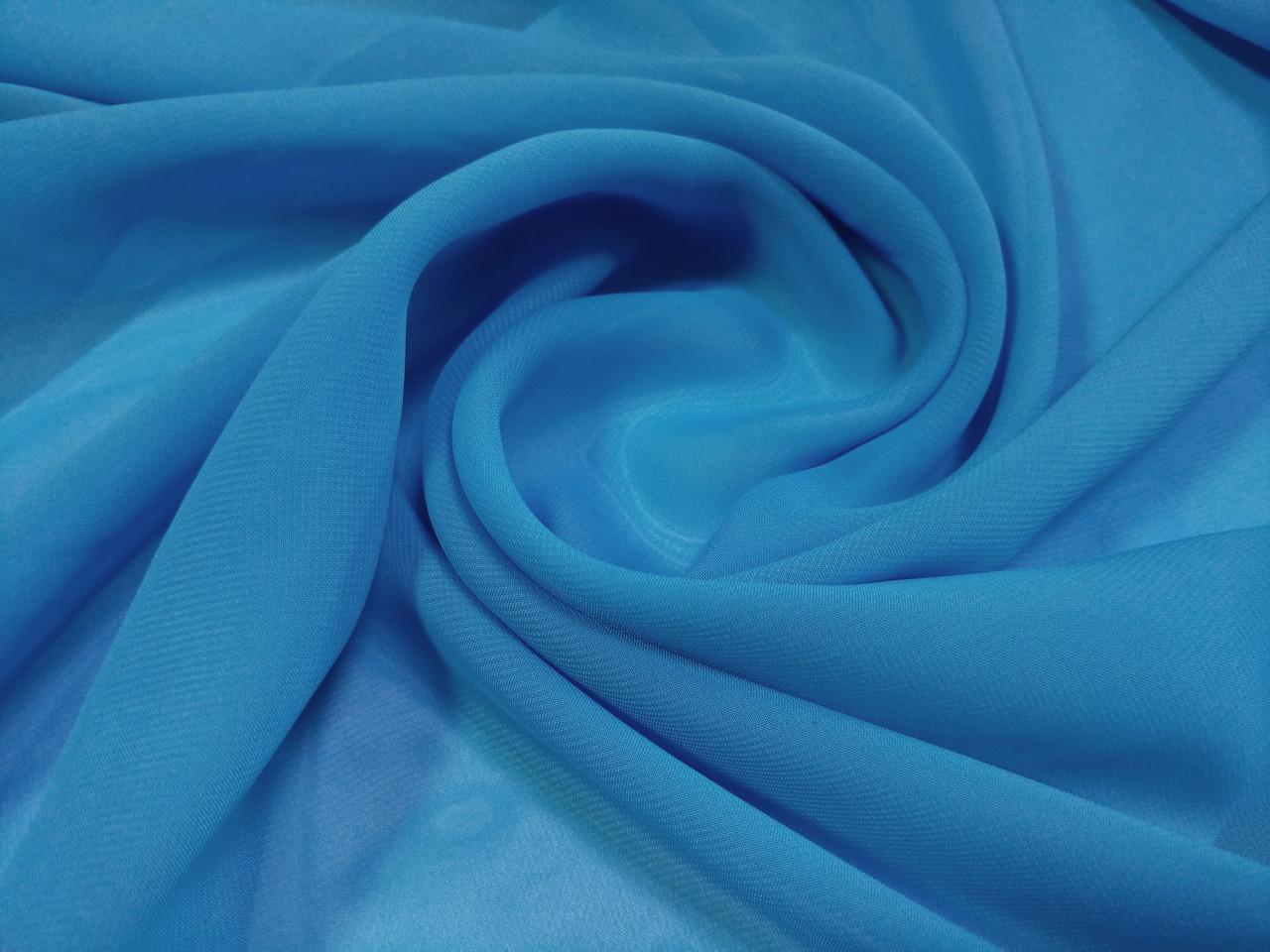 Шифон однотонный, голубой
