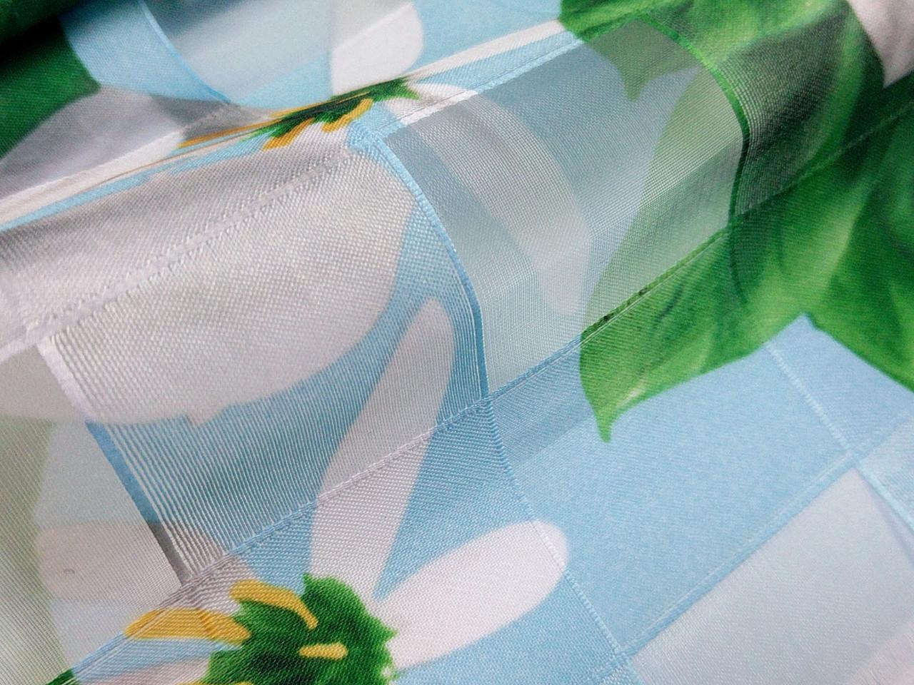 Органза клетка цветочная, голубой
