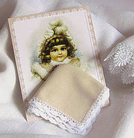 Детский носовой платок на подарок ручной работы кофейный