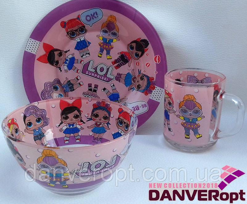 Посуда детская L.O.L. подарочный набор 3ка купить оптом со склада 7км Одесса