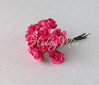 Розочки бумажные ярко розовые 15 мм 6 шт., фото 1