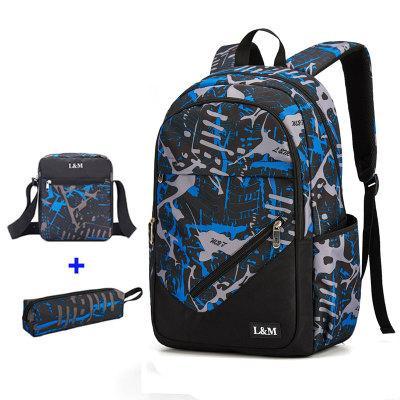 Рюкзак черный с синими и серыми рисунками с пеналом и сумкой в комплекте