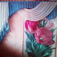 Ламбрекен на кухню голубой