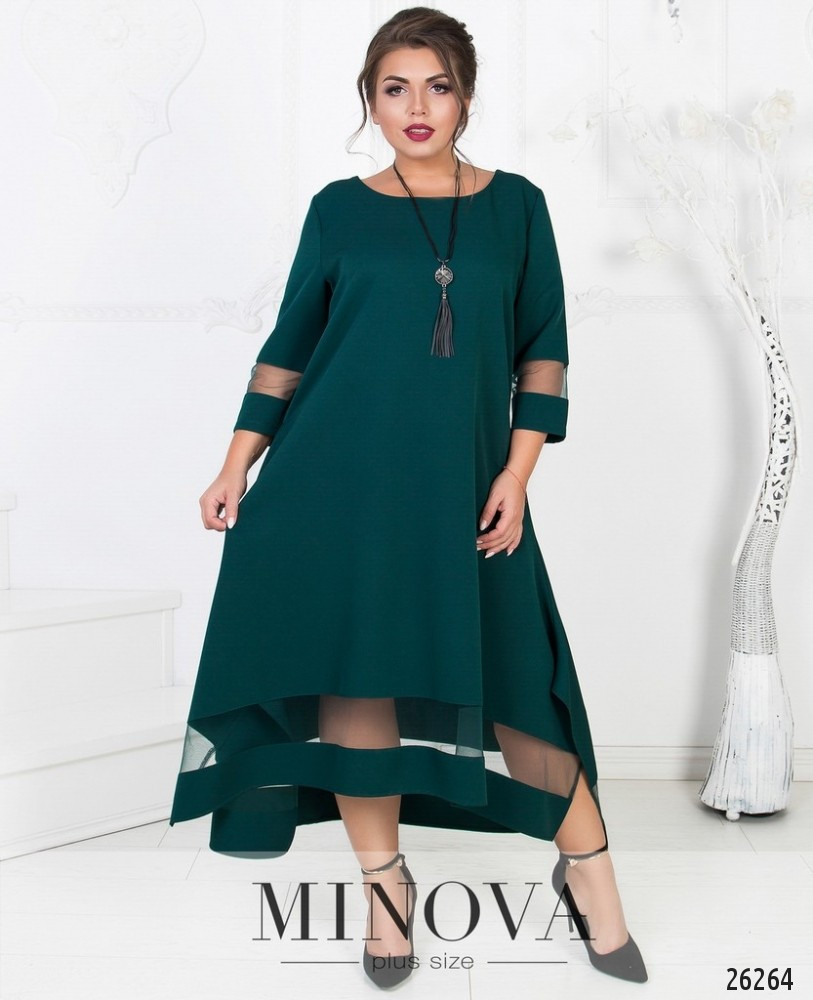 Красивое асимметричное платье с сеткой в расцветках