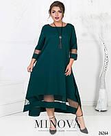 Красивое асимметричное платье с сеткой в расцветках, фото 1