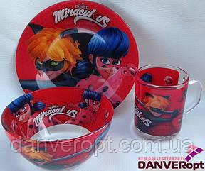 Посуда детская MIRACULOUS подарочный набор 3ка купить оптом со склада 7км Одесса