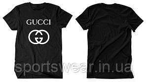 """Футболка Gucci черная с белым логотипом, унисекс (мужская,женская,детская) """""""" В стиле Gucci """""""""""